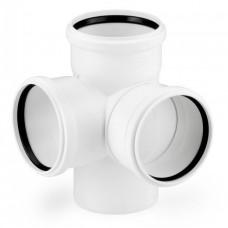 Крестовина канализационная RAU-PP Rehau Raupiano Plus двухплоскостная 110х110х110 мм 87 градусов