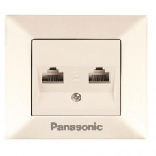 Розетка телефонная Panasonic Arkedia WMTC04022BG-RES RJ11 двухместная кремовая